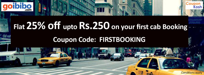 Get flat 25% off (upto Rs.250) on your first cab Booking