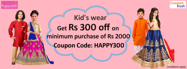 Kid's wear - Get Rs.300 off on minimum purchase of Rs.2000