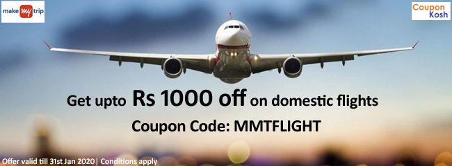 Upto Rs 1000 off on domestic flights