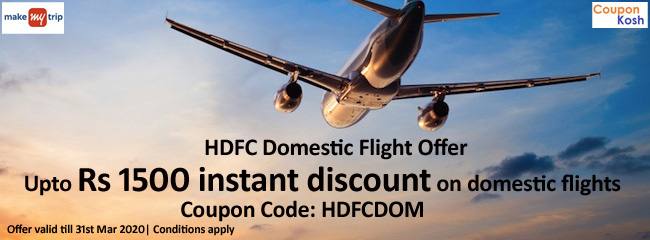 Up to INR 1,500 instant discount on Domestic Flights