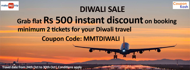 Diwali Sale: Grab flat Rs 500 instant discount on booking minimum 2 tickets for your Diwali travel