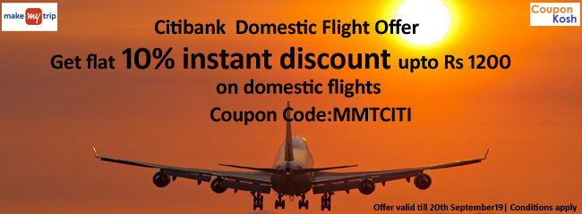 Citibank  Domestic Flight Offer: Get flat 10% instant discount upto Rs 1200 on domestic flights