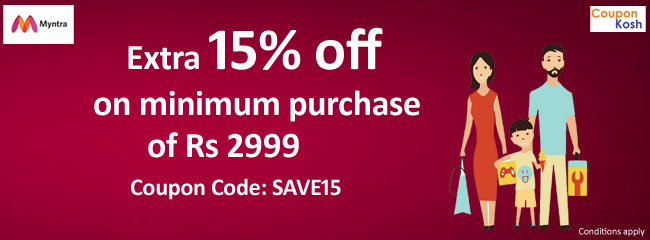 Extra 15% off on minimum purchase of Rs. 2999