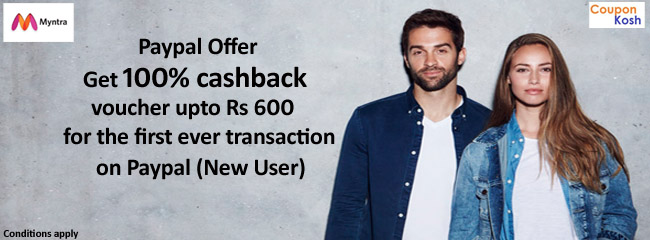 Paypal Offer: 100% cashback voucher of upto Rs 600 on new Paypal's user first ever transaction of minimum Rs 50