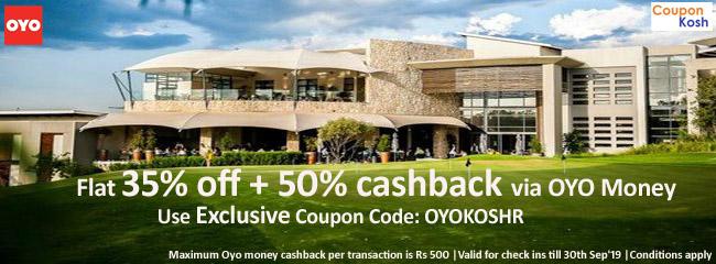 Flat 35% off + 50% cashback via OYO Money