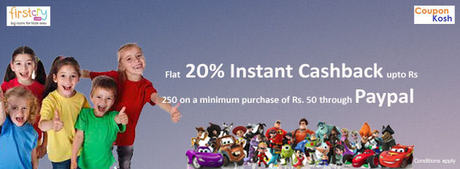 Paypal Offer: Flat 20% Instant Cashback upto Rs 250 on a minimum purchase of Rs. 50 through Paypal