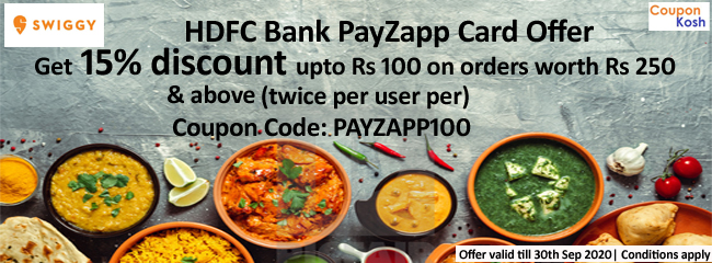 HDFC PayZapp Card Offer: Get 15% discount upto Rs 100 on orders above Rs.250 (twice per user)