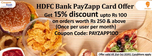 HDFC Bank PayZapp Card Offer: Get 15% discount upto Rs 100 on orders above Rs.1500 (Twice per user)