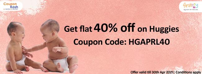 Flat 40% off on Huggies
