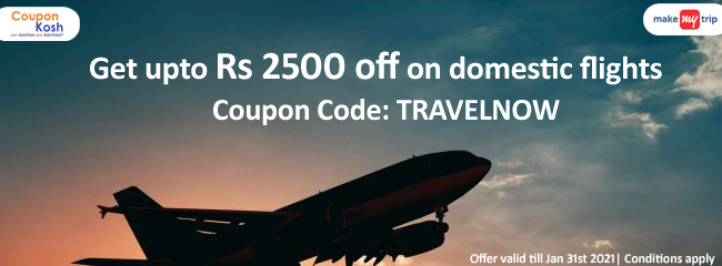 Get upto Rs 2500 off on domestic flights