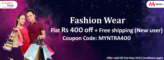 Fashion wear -  Flat Rs 400 off + free shipping  (New User)