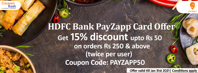 HDFC Bank PayZapp Card Offer: Get 15% discount upto Rs 50 on orders above Rs.250 (Twice per user)