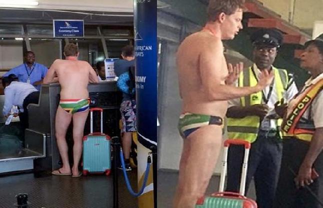 स्वीमिंग कॉस्ट्यूम में ही एयरपोर्ट पहुंचा पैसेंजर, Viral हुईं Photos