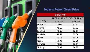 पूर्वोत्तर के लोगों के लिए राहत भरा दिन, नहीं बढ़ीं पेट्रोल-डीजल की कीमतें