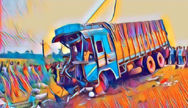 असम : दो ट्रकों की भयंकर भिड़ंत में चालक घायल, गाय की मौत