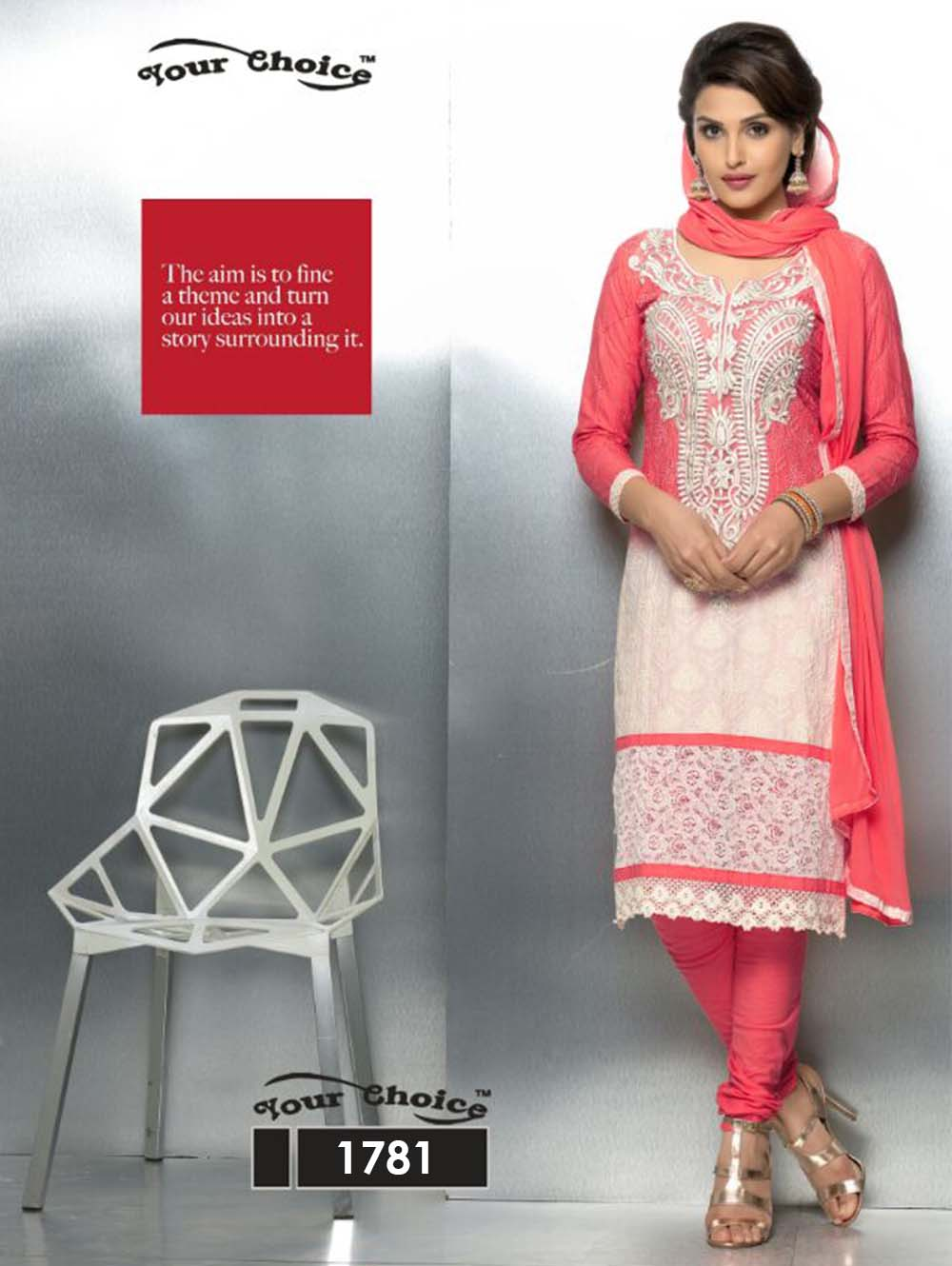 1781 Radical Red and Ivory Party Wear Nazneen Straight Suit