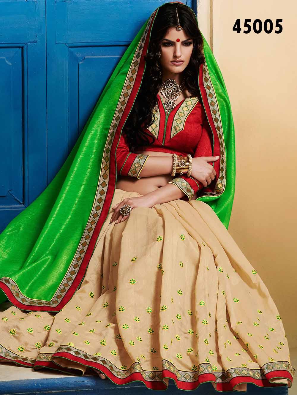 45005 Light Green and Beige Designer Saree