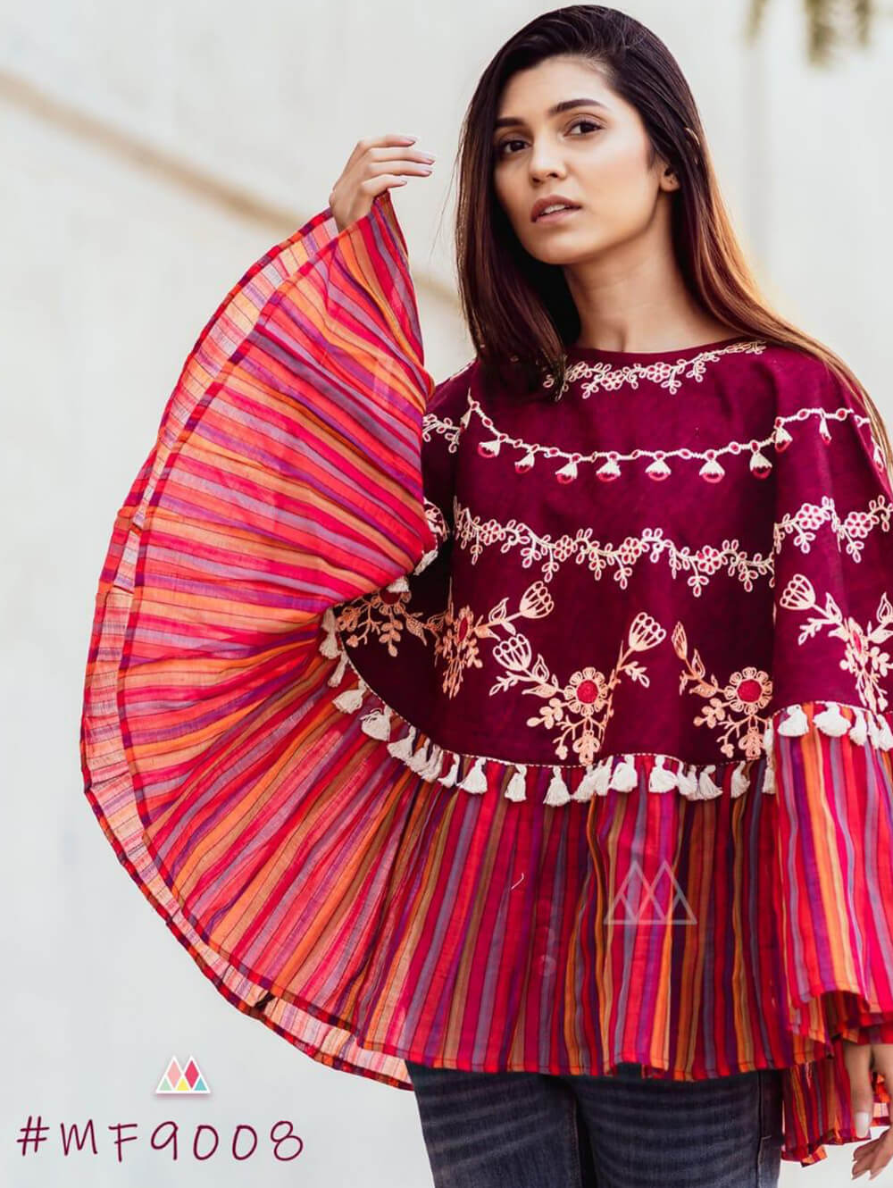 9008 Maroon Winter Wear Embroidered Ponchos