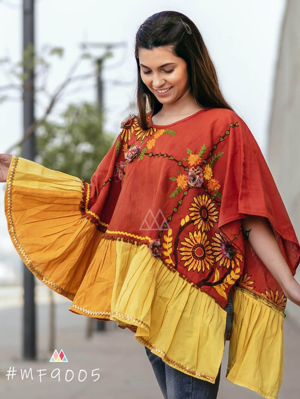 9005 Brown Winter Wear Embroidered Ponchos