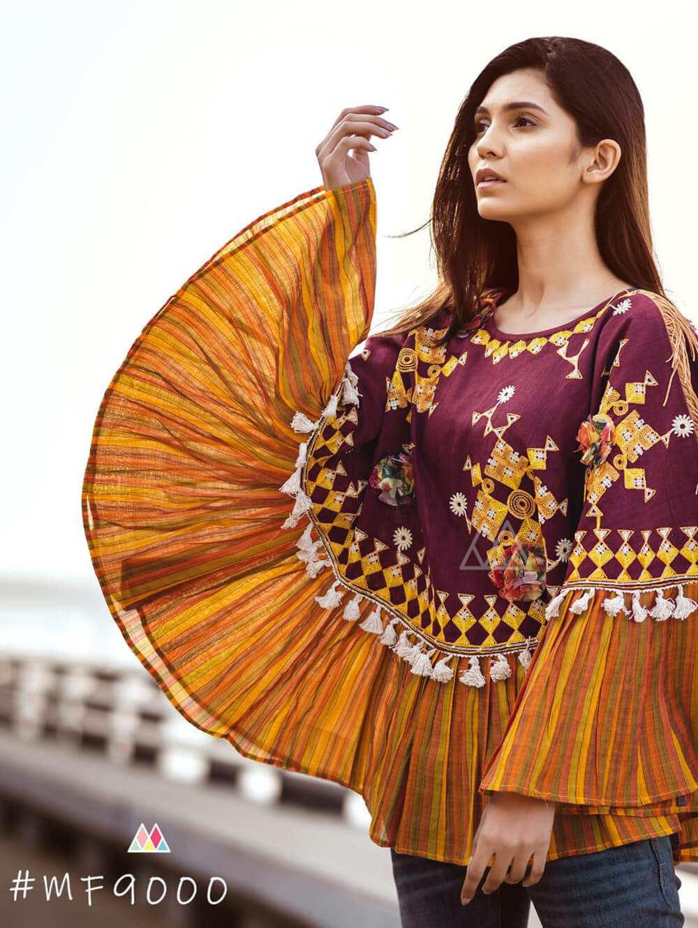 9000 Maroon Winter Wear Embroidered Ponchos