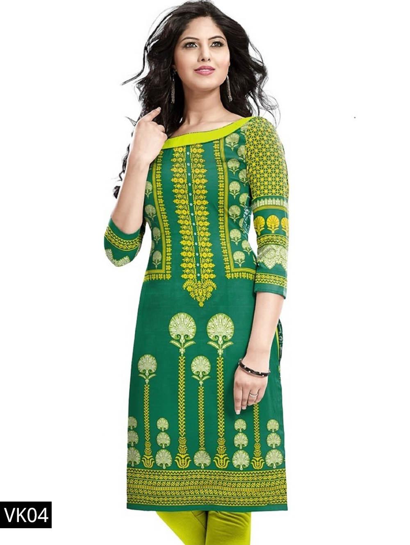 04 Green Printed Cotton Stitched Kurti