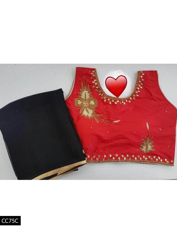 CC75C Black Saree with Red Designer Taffeta Silk Blouse