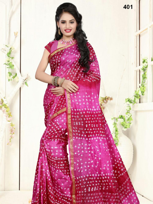 401Magenta Designer Art Silk Bandhej Saree
