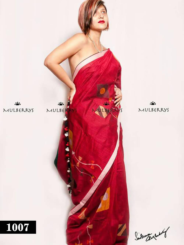 1007 Red Designer Divya Silk Traditional Wear Saree