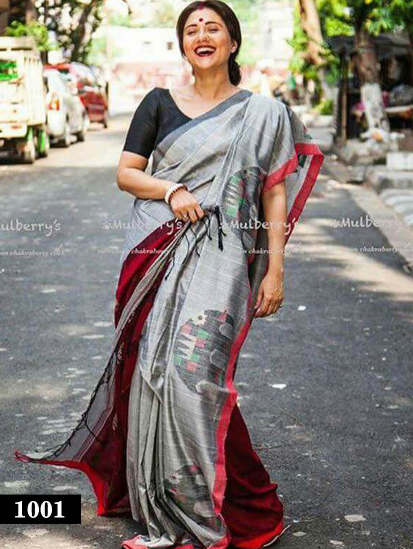 1001 Grey Designer Divya Silk Traditional Wear Saree