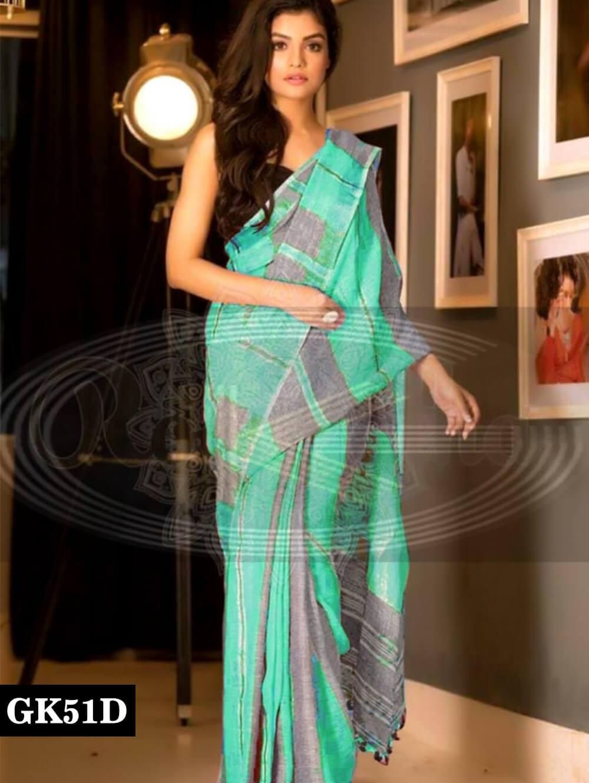 51D Sea Green and Grey Designer Linen Silk Saree