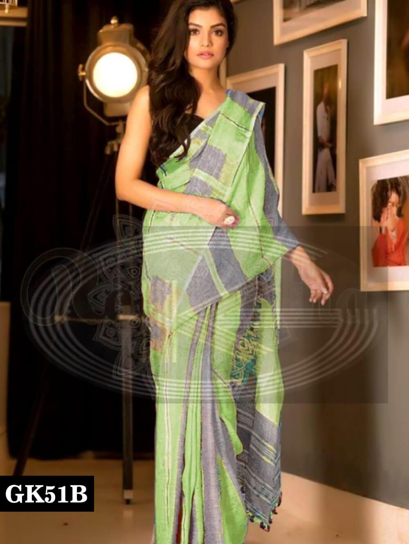 51B Light Green and Grey Designer Linen Silk Saree