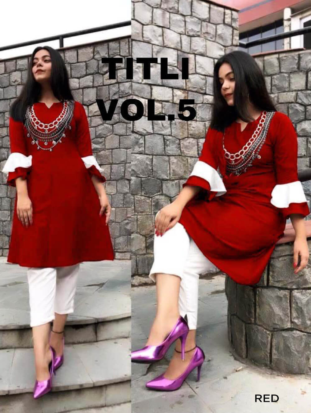 Red Designer Rayon Stitched Top with Pant