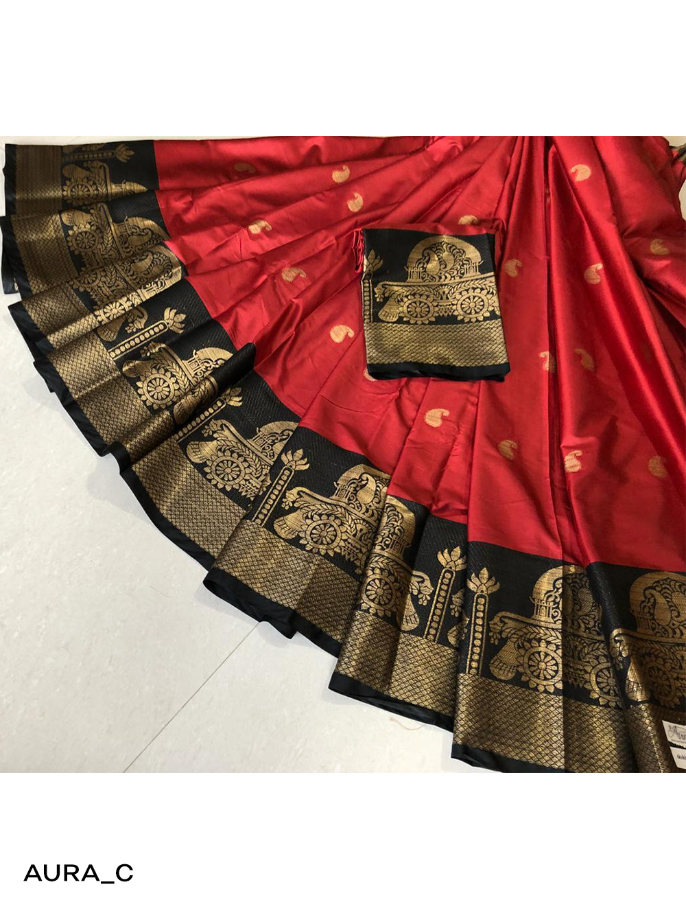 C Red Designer Cotton Silk Saree