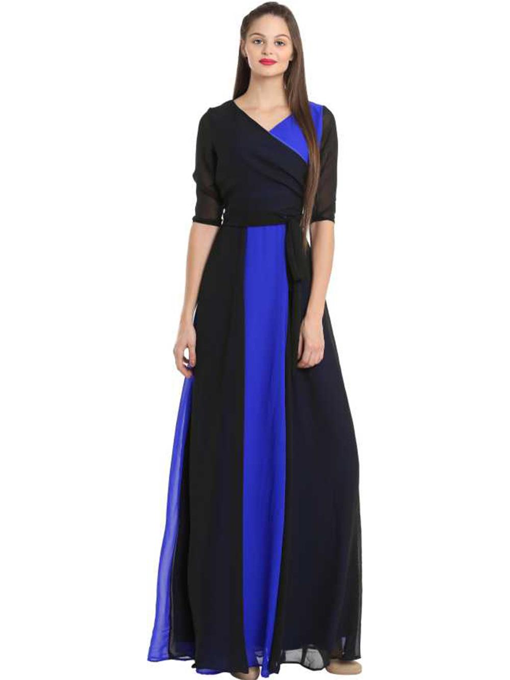 7b53448c1e5 0173J Black Designer Ethnic Wear Banglory Silk Gown- Gowns- Western ...