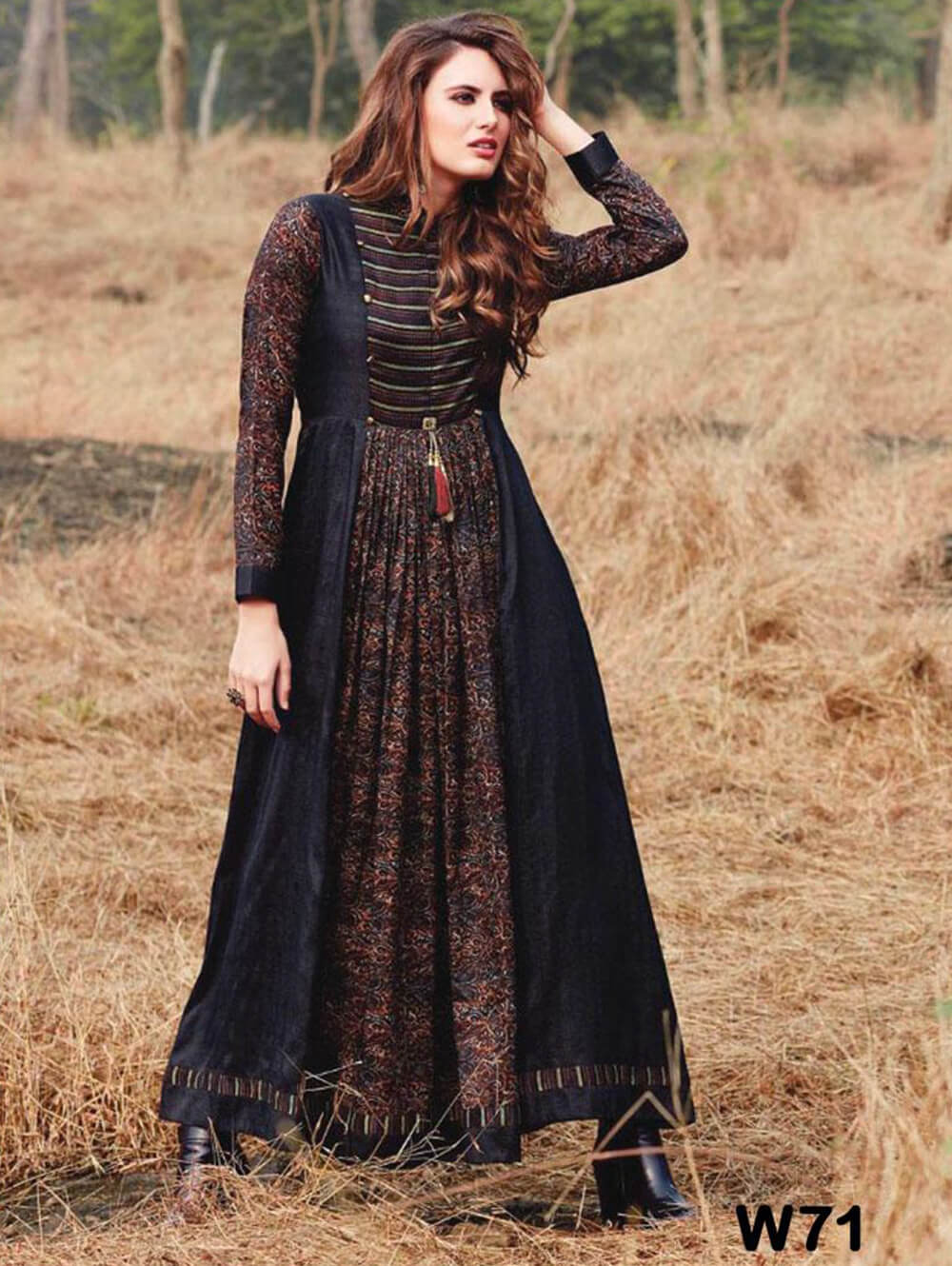 W71 Multicolor Rayon Printed Western Wear Dress