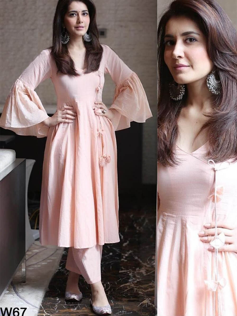 W67 Pink Cotton Western Wear Dress