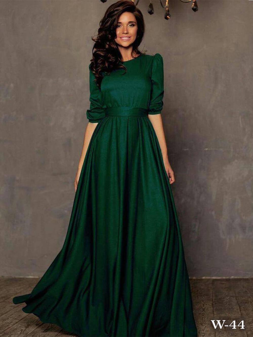 W44 Dark Green Taffeta Silk Western Gown