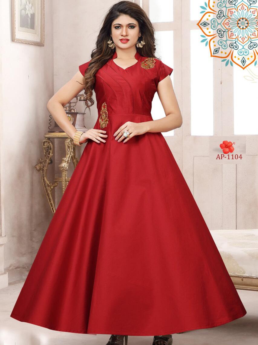 AP1104 Red Satin Taffeta Full Stitched Gown