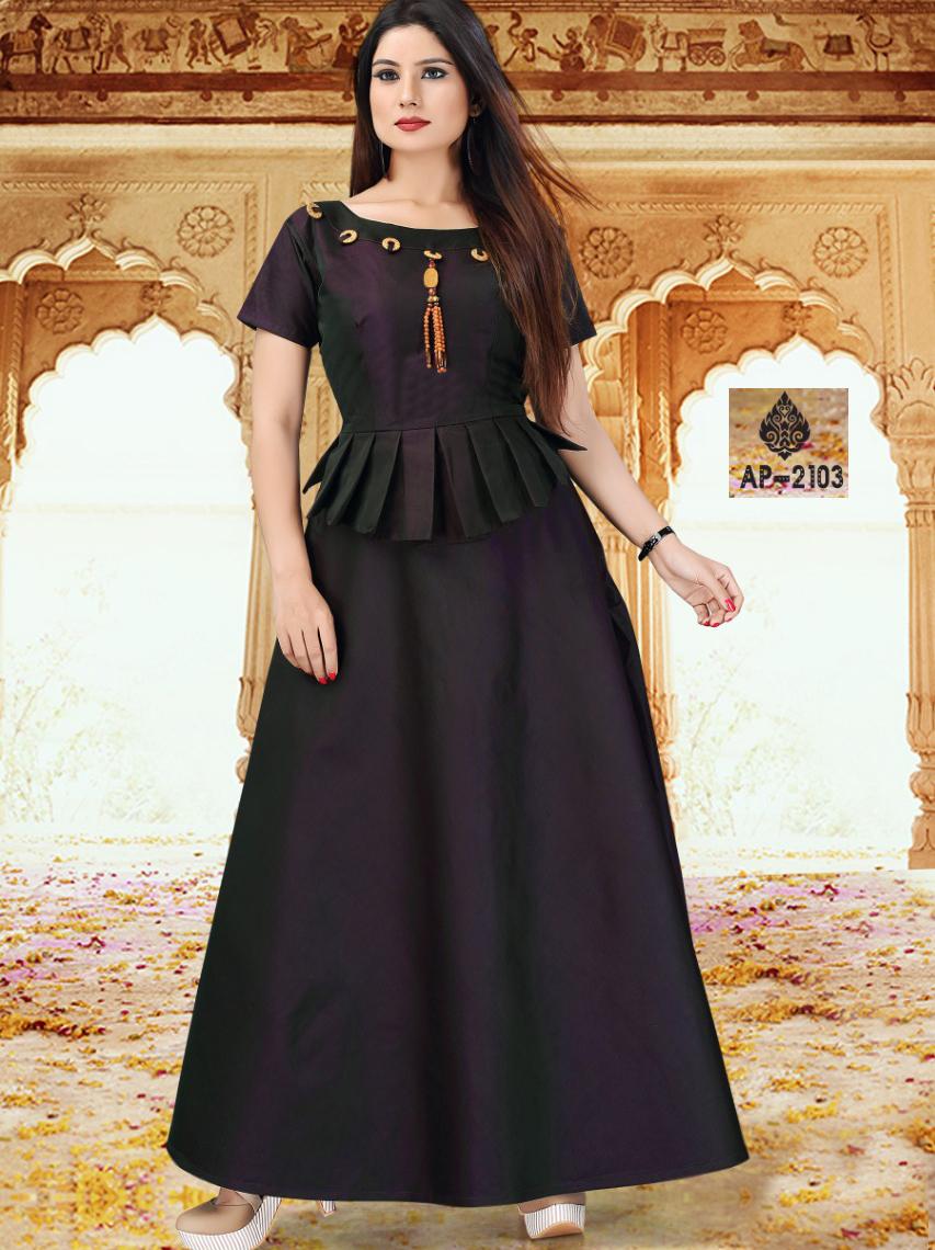 AP2103 Purple Satin Taffeta Full Stitched Gown