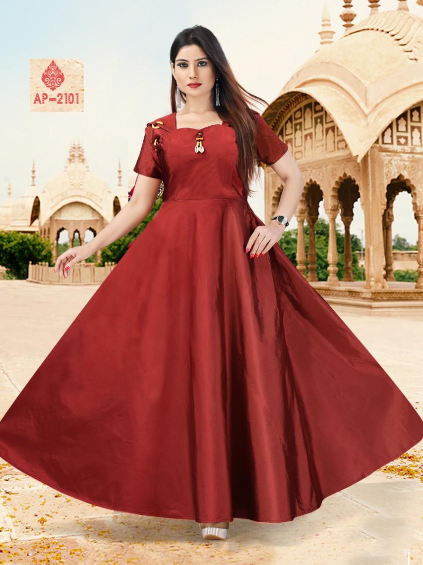 AP2101 Dark Red Satin Taffeta Full Stitched Gown