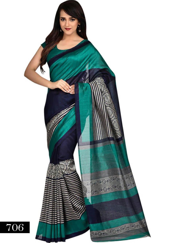 706 Sea Green and Blue Designer Bhagalpuri Silk Saree