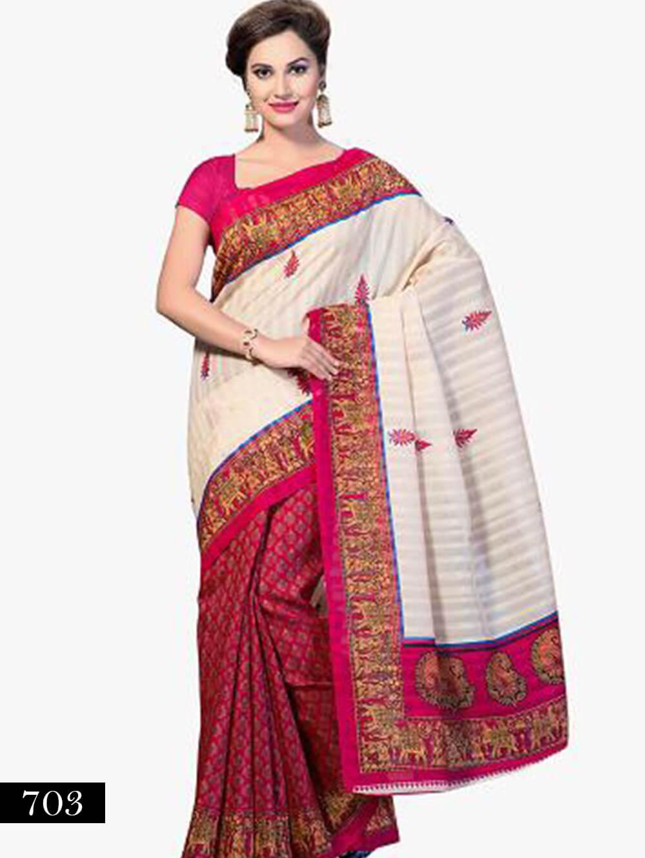 703 Ivory and Magenta Designer Bhagalpuri Silk Saree