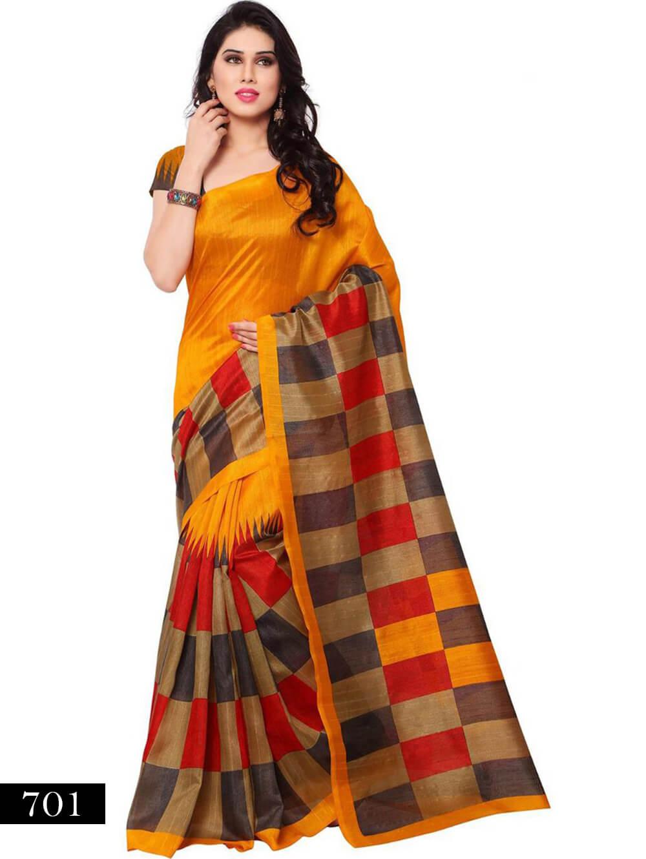 701 Orange and Multicolor Designer Bhagalpuri Silk Saree