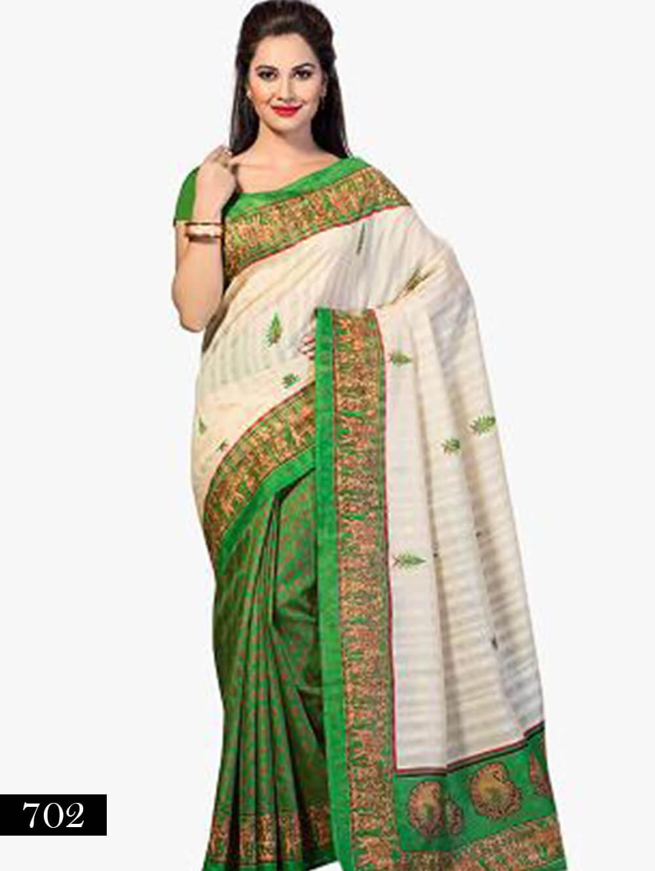 702 Ivory and Green Designer Bhagalpuri Silk Saree