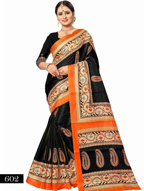602 Black Designer Bhagalpuri Silk Saree