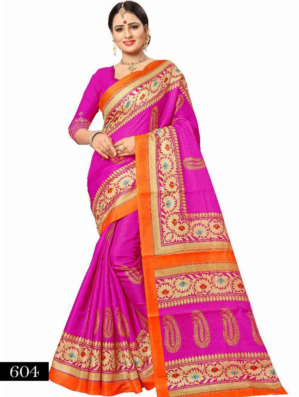 604 Magenta Designer Bhagalpuri Silk Saree