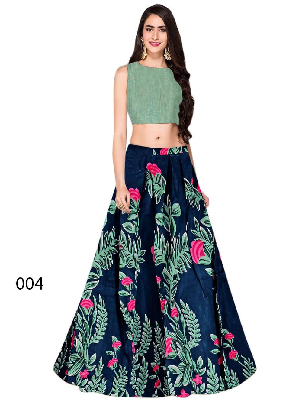 004 Blue Banglory Satin Silk Designer Lehenga