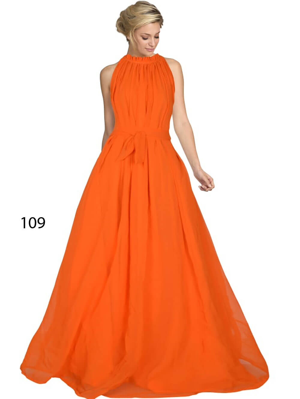 109 Orange Designer Western Wear Stitched Gown