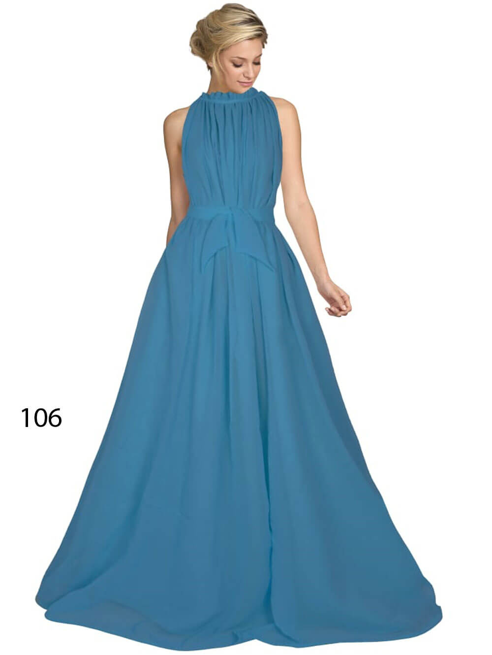 106 Sky Blue Designer Western Wear Stitched Gown