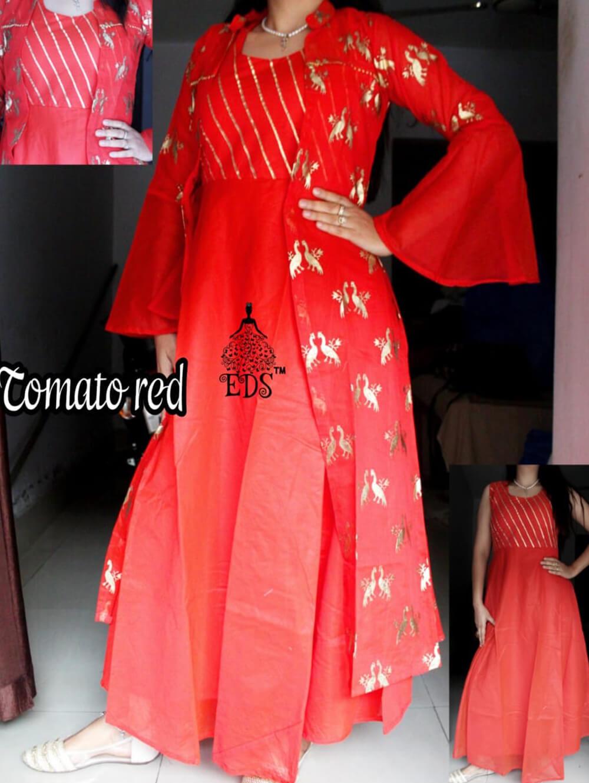 Tomato Red Designer Ethnic Wear Chanderi Silk Stitched Gown